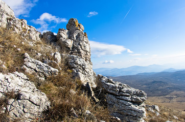 Interesting rocks on a way to the top of a mountain Rtanj