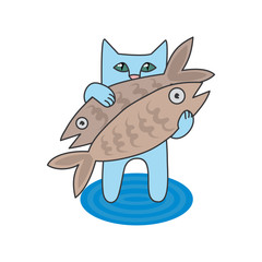 vector illustration blue cat caught two fish