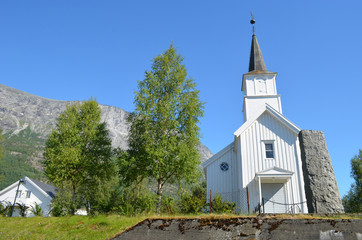 Little white church in the Skjomdal valley, Norway