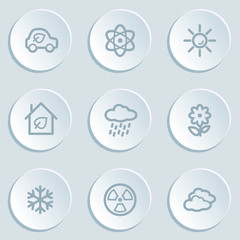 Ecology web icon set 2, white sticker buttons
