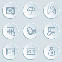 Banking web icons, white sticker buttons