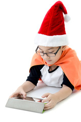Little asian smile boy with santa hat