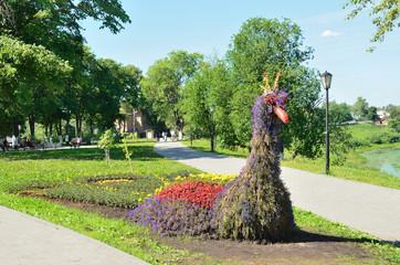 Клумба в форме павлина на набережной в Вологде