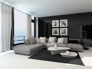 Lounge interior in a coastal apartment