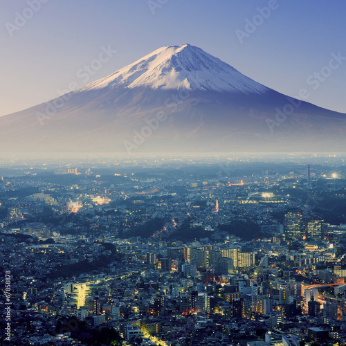Fotobehang Vulkaan Mount Fuji. Fujiyama. Aerial view with cityspace surreal shot. J