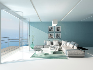 Bright airy sitting room overlooking the sea