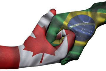 Handshake between Canada and Brazil