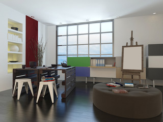 Artists drawing room or design studio interior