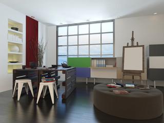 Artists drawing room or design studio interior