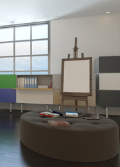 Design office interior with an easel