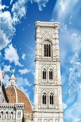 Beautiful view of Tower of cathedral in Florence