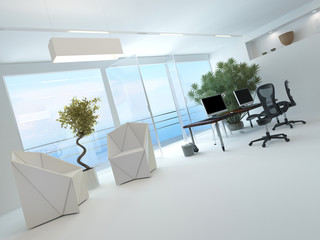 Modernes weißes helles Büro mit fantastischem Meerblick