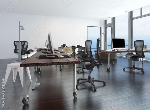 Contemporary minimalist office interior - 67859038