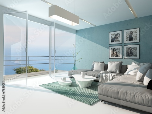 Leinwanddruck Bild Luxury waterfront apartment living room