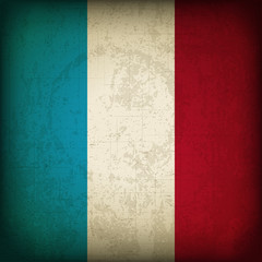 Vector Illustration of Old French Grunge Flag