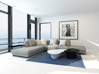 Modern waterfront apartment interior