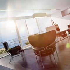 Moderne zeitgemäße Büro / Besprechungszimmer mit Meerblick