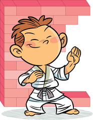 the boy, who is engaged in karate