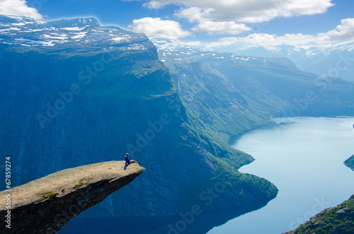 View of Trolltunga to fjord - Norway - 67859274