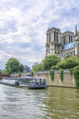 Notre Dame Cathedral view from the river Seine