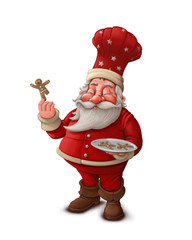 Santa Claus pastry cook - White background