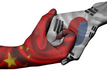 Handshake between China and South Korea