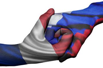 Handshake between France and Russia