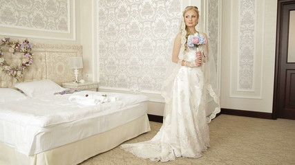 Honeymoon Room, bride, posing, dress