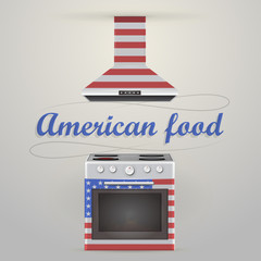 Illustration of stove and extractor. American food.