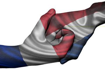 Handshake between France and Netherlands