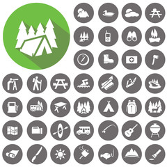 Camping icons set. Illustration eps10