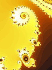 Decorative fractal spiral in a yellow colors