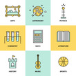 Education subjects flat icons