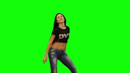 Green screen and matte girl dancing