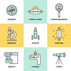 Startup key elements flat icons set