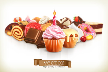 Festive cupcake with candle, confectionery vector illustration