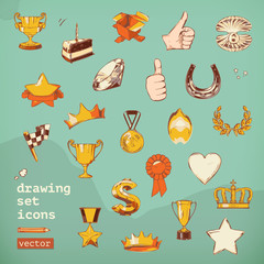 Awards and achievement, drawing set vector icons