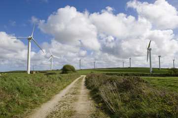The road to clean energy. Wind turbines in Cornwall (UK).