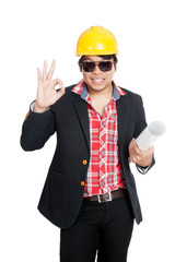 Asian engineer man show OK sign