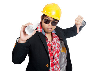 Asian engineer man with his thumb down