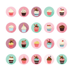 Cupcake icons set. Illustration eps10