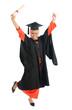 Full bodyMuslim university student jumping