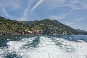 Vernazza cinque terre view from ferry