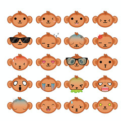 Monkey icons set. Illustration eps10