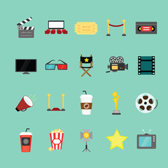 Movie and cinema icons set. Illustration eps10