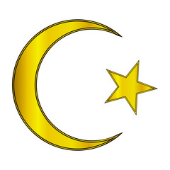 Gold star and crescent icon
