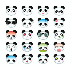 Panda smiley face icons set. Illustration eps10