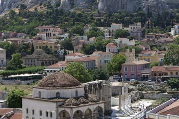 Monastiraki square and Acropolis in Athens, Greece.