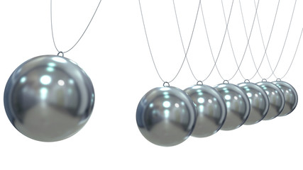Render of a Newton Pendulum on white background