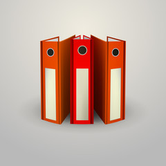 Vector illustration of red folders